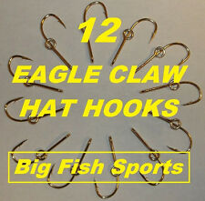 12 EAGLE CLAW HAT HOOKS Hat Pin/Tie Clasp GOLD PLATED FISH HOOK HAT PINS #155 10