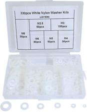 Boeray 330pcs Metric White Flat Nylon Washer Lock Washers Plastic Gasket Assortm