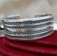 Large Vintage Sterling Silver Bracelet, Open Cuff Bangle, Statement, 1980s, 44gr