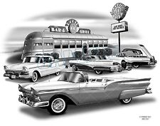"""FORD SKYLINER 57,58 MUSCLE CAR ART AUTO PRINT #2301 """"FREE USA SHIPPING"""""""