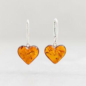Amber Dangle Earrings Amber Heart Sterling Silver Earrings Love Earrings Gift