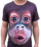 Funny Monkey Face Brown T-Shirt  ape orangutan chimp festival licensed