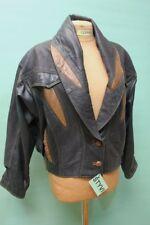 Orig 90er vintage Leder Jacke M/38 Damen retro Bolero kurz echt braun oldschool