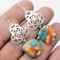 Spiny Oyster Turquoise - Arizona 925 Sterling Silver Earrings Jewelry AE22477
