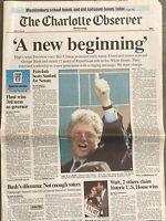 Bill Clinton Elected President Original Newspaper Headline November 4, 1992