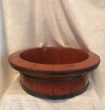 """Antique Chinese Wood Steel Rim Grain Round Bowl, ORANGE, 16"""" Diameter"""