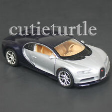 "4.5"" Welly Bugatti Chiron Diecast Toy Car 43738D 2-Tone Blue Silver"