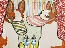 Ibizan Hound in Quarantine dog art 9x12 pastel painting artist Ksams steampunk