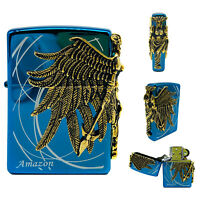 Zippo Lighter Amazon Blue GD Gold Emblem Polish Brass Pocket Windproof Gift