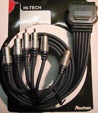 CAVO AUDIO VIDEO A/V  6 RCA to SCART 21  M/M 1,5MT - CONTATTI in ORO - NUOVO
