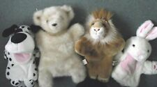 4 X GREAT HAND PUPPETS ~ lion,BEDFORD bear,BARKING dog & Easter rabbit soft toys