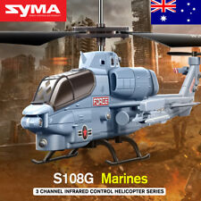 Genuine Syma S108G 3CH Remote Control RC Helicopter Apache With LED Light Gyro