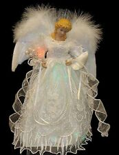 "12"" Lighted LED Fiber Optic White and Silver Angel Christmas Tree Topper"