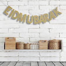 EID MUBARAK Gold Letters String Flag Wedding  Party Decoration Pennant Banner
