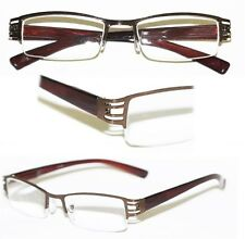 Reading Glasses  BRUSHED METAL Cut-Out Brown BRONZE Frame Narrow Lens+2.75