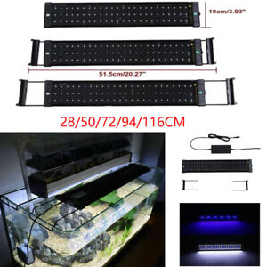 28/50/72/94/116CM Aquarium Top Fish Tank Over-Head Lamp LED Light White&Blue AU