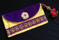 Boho-Chic Purple Vintage Style Envelope Clutch Saree Bag-Indian Wedding Acessory