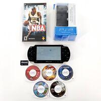 Sony PSP 1001 Black Handheld System Bundle Lot w/ 5 Games, 1 Movie Tested *READ*