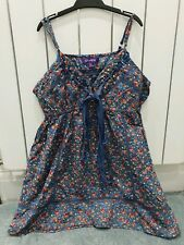 Girls Childrens strappy tunic style vest top VGC AGED 9 ditsy floral print