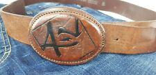 AJ Armani Jeans Herren Unisex Leder Gürtel Leather Belt braun Cognac Länge 100cm
