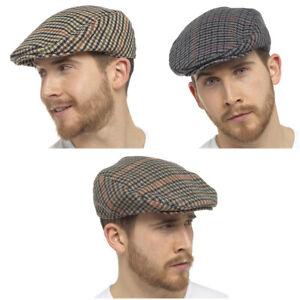 Mens / Ladies Tweed Wool Herringbone Flat Cap Peak Hat with Quilted Lining