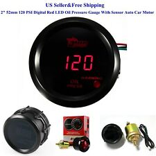 "2"" 52mm 120 PSI Digital Red LED Oil Pressure Gauge With Sensor Auto Car Motor"