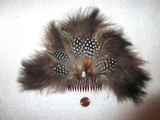 Huge Vintage Feather Rhinestone Hair Comb w/ Shell Brown Black White --Superb!