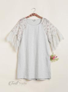 Umgee | Oatmeal Printed Eyelet Lace Detailed Sleeve A-Line T-Shirt Dress NEW