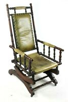 Antique Victorian Mahogany and Leather Rocking Chair - Free Shipping [5712]