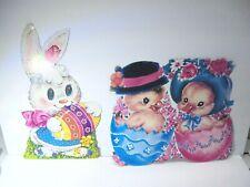 Vintage Little Chick Easter Egg Bunny Die Cut Hanging Decor 1 Sided Paper Set