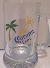 (1) Corona Extra Glass Beer Mug Palm Tree Sun Design (12 Oz.)