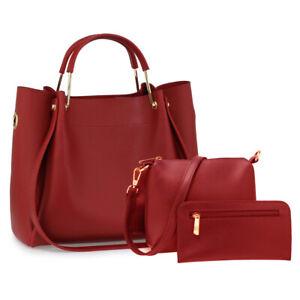 Ladies Designer 3 Pieces Burgundy Set Shoulder Large Handbags Faux Leather 00610
