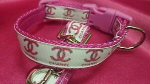 """Dog Collar and matching lead set 8.5""""-12"""" neck size. FREE FABRIC"""