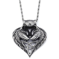 Rock/ Punk Men 316L Stainless Steel Biker Two wolf heads Pendant necklace chain