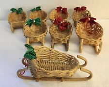 Lot Of 8 Vintage WICKER SLEIGH CHRISTMAS ornaments with glitter bows and hanger