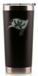 TAMPA BAY BUCCANEERS BLACK HYDRO ENGRAVED TUMBLER INSULATED DOUBLE WALL MUG