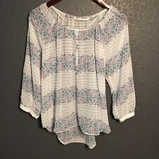 LC Lauren Conrad Sz XS Sheer Hi Lo Blouse Floral Striped Top 3/4 sleeve