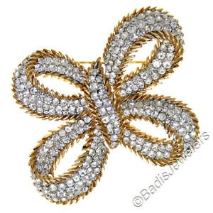 Vintage LARGE Trifari 18k Gold Plated Brass Butterfly Bow Rhinestone Brooch Pin