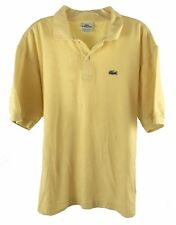 Lacoste Mens Polo Shirt Size 6 Short Sleeve Yellow Alligator 2 Button Front