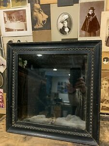Antique Mourning Victorian Hair Wreath Shadowbox Frame w/ Old Glass