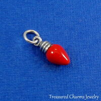 .925 Sterling Silver RED CHRISTMAS LIGHT BULB CHARM Decoration PENDANT