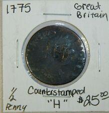 "Great Britain 1775  George III Halfpenny Counterstamp ""H"""