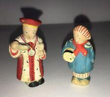 Pair Vintage Clay Miniature Hand Painted Figurines Dolls Priest Cook