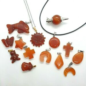 Natural Carnelian Necklace Quartz Pendant Healing Stone Silver Chain Waxed Rope