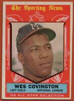 1959 Topps #565 Wes Covington AS VG-VGEX Wrinkle. Milwaukee Braves FREE SHIPPING