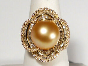 13mm golden South Sea pearl ring, diamonds, solid 18k yellow gold.