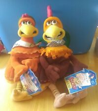 "Chicken Run Rocky & Ginger Plush Set 9"" Playmates 2000 with tags"