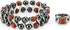 Smarter LifeStyle Womens Hematite Magnetic Healing Stone Bracelet & Ring Set