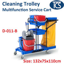 TCS Multi-Functional Cleaning Cart Janitor Trolley w Twin Mop Bucket & Nylon Bag