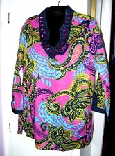 SIZE 1X WOMEN, PINK, BLACK BEADED COTTON SHIRT TOP TUNIC - WESTBOUND, NWT
